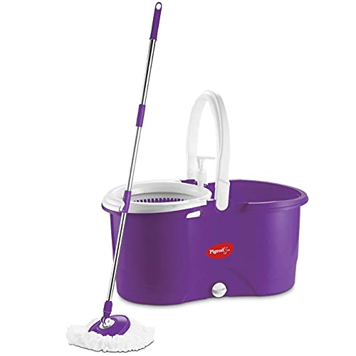 Pigeon Enjoy Spin Mop with 360 Degree Rotating PVC Magic Mop Set for Wet and Dry Floor/Wall...
