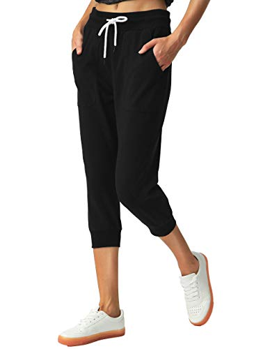 SPECIALMAGIC Women's Sweatpants Cropped Jogger French Terry Running Pants Lounge Loose Fit Drawstring Waist with Side Pockets Black M 3