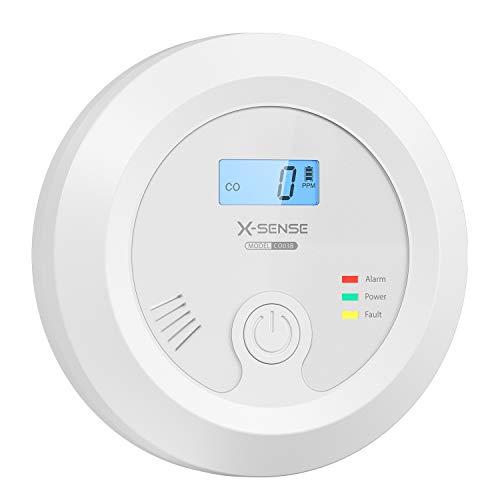 X-Sense CO Melder mit austauschbarer Batteriebetrie und Digitalanzeige, Kohlenmonoxidmelder, akkurater Sensor mit 10-Jahren Lebensdauer, CO03B