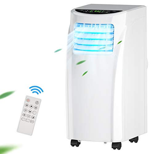 COSTWAY Portable Air Conditioner, 8000 BTU Air Conditioner Unit with Remote Control Dehumidifier Function Window Wall Mount, 4 Caster Wheel, Sleep Mode and 2 Fan Speed