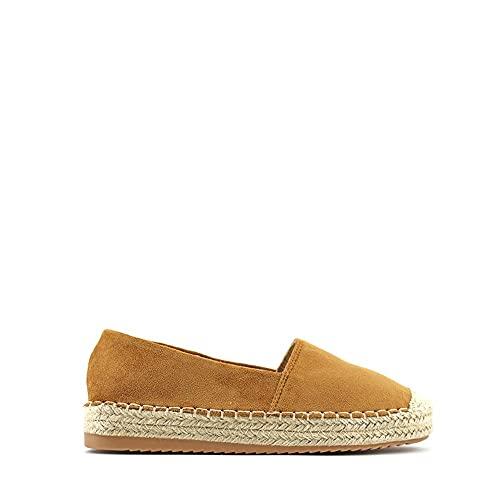 Modelisa - Zapato Alpargata Plana para Mujer (Camel, Numeric_41)