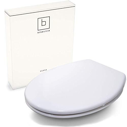 Benkstein® Premium Toilettendeckel Oval Klodeckel mit Quick-Release-Funktion und Softclose Absenkautomatik. Antibakterielle Klobrille aus Duroplast und rostfreiem Edelstahl abnehmbar.(Klassisch)