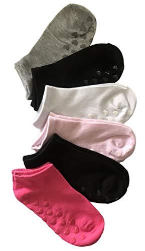 Kids Socks 6 Paia Calze Calzini Corti Bambina Bimba In Cotone Colorati Antiscivolo - Modello Estivo Fantasmino (altezza caviglia) (22-26, Combinazione 1)