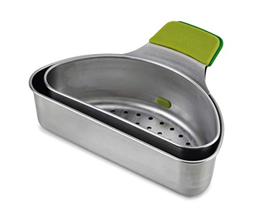 Joseph Joseph 40097 Nest Steam Steel Set di 2 cestelli per Cottura a Vapore in Acciaio Inox-Verde, Stainless