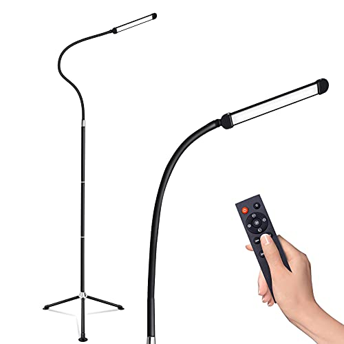Floor Lamp for Living Room,Led Black Floor Lamp for Bedroom with Remote Control,10 Steps Brightness and Colour Adjustment Tripod Floor Lamp,10w Dimmable Flexible Reading Standing Lamp Tall Lamp