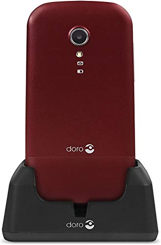 Doro 2404 Téléphone Portable 2G Dual SIM à Clapet Débloqué pour Seniors avec Grandes Touches, Touche d'Assistance et Socle Chargeur Inclus [Version Française] (Rouge)
