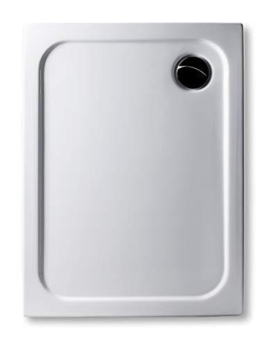 Acryl Duschwanne 90 x 75 cm superflach 2,5 cm, GERADE UNTERSEITE - zum sofortigen Aufkleben geeignet, rechteckig weiß Dusche/Duschtasse/Brausewanne