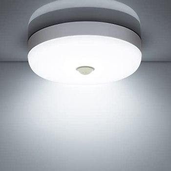 Combuh Plafonnier LED Detecteur de Mouvement 15W 1500LM 6500K Blanc Froid IP56 Étanche Rond Lampe Plafond LED pour Exterieur Intérieur escalier salle de bains garage Couloir