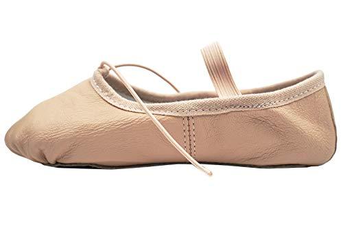 DANCEYOU Zapatos de Ballet de Cuero Zapatillas Gimnasia Ritmica de Rosa Carne para Niñas y Mujeres Suela Partida EU38/38.5