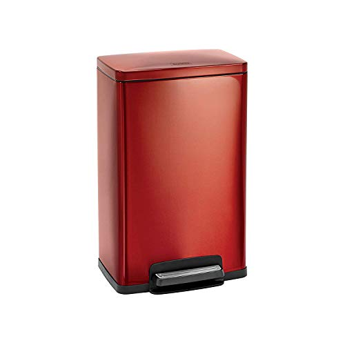 Tramontina 81200/551DS Cranberry Red Contemporary Rectangular Step Can Freshener System, Trash Can, 13-Gallon