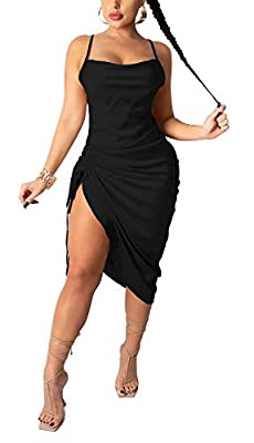 ❤️Fabric: Women sexy slim fit dress is made of polyester fabric, lightweight, soft, comfortable and smooth ❤️Features: Adjustable spaghetti strap ruched side sleeveless midi dress, ruched silk midi club dress, halter neck midi dress, bodycon club par...