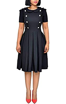 Features: Flounce ruffled design, elegant cutting, short sleeve, o neck, with pocket, zipper back, button front decoration, knee length, ruffled skirt, soild color, a-line swing, ruffled hem, sexy pleated midi wear to work business dress for women. M...