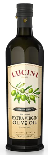 Lucini Italia Premium Select Extra Virgin Olive Oil - Italian EVOO - Hand Picked Olives from Italy - Non GMO Verified, Whole30 Approved, Kosher, 750 mL