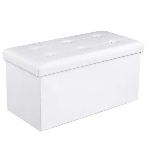 Songmics LSF106 Baúl Puff - Taburete para Almacenaje Plegable Carga máxima de 300 kg Blanco, 76 x 38 x 38 cm