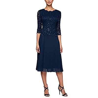 Joanna Chen design T-length dress This style is available in regular, plus size and petite on amazon.Com 3/4 length illusion sleeve Center back zip. Scalloped lace edges Weave type: Woven