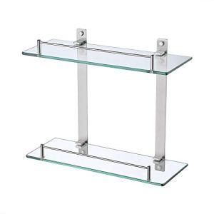 KES Bathroom Lavatory Double Glass Shelf Wall Mounted Floating, Rustproof Brushed SUS304 Stainless Steel, BGS2202B-2