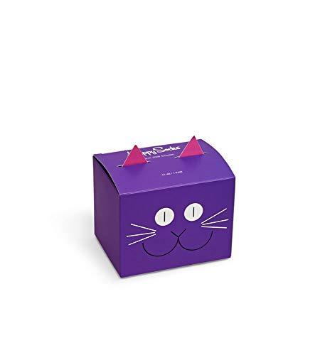 Happy Socks Calzini colorati in cotone di alta qualit, in confezione regalo a forma di gatto per uomo e donna (36-40)