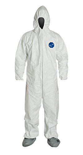 DuPont Tyvek 400 TY122S Individually Packed Disposable Protective Coverall with Elastic Cuffs, Attached Hood and Boots for PPE Vending Machines, White, 2X-Large
