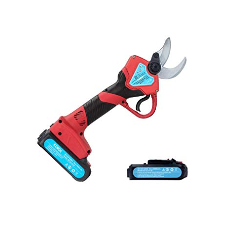 KOMOK Professional Cordless Electric Pruning Shears,2PCS Backup Rechargeable 2Ah Lithium Battery Powered Tree Branch Pruner,30mm (1.2 Inch) Cutting Diameter,6-7 Working Hours(Red)