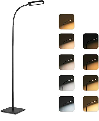 Stehlampe, TECKIN Dimmbare LED 12W Stehlampe, Leselampe, Touch Stehleuchte für Wohn und Schlafzimmer, 5 Farbtemperaturen, 4 Helligkeitsstufen Schwarz