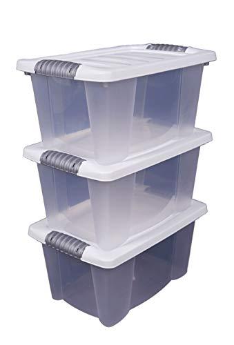 Spetebo 3X Multibox mit Deckel in weiß - 40 x 30 x 20 cm - 3er Set stapelbare Boxen