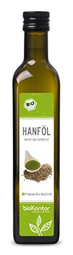 BIO Hanföl 500ml I 100% rein, nativ, kaltgepresst, laborgeprüft, ohne Zusätze, enthält Omega 3 - 6 -9 Fettsäuren I von bioKontor
