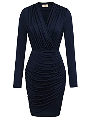 Crossover V-neck, Long Sleeve, Draped Waist, Front Pleated with Unique Look, Tulip Hem, Wrap Dress Unique design in Wrap Neck: wrap v neck design creates a sexy front and gorgeous back look . Ruched womens dress modifies beautiful sexy leg shape,make...