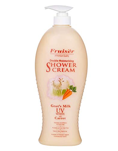 Fruiser Double Moisturising Shower Cream Goat's Milk UV White with Carrot 450 Ml Made in Malaysia