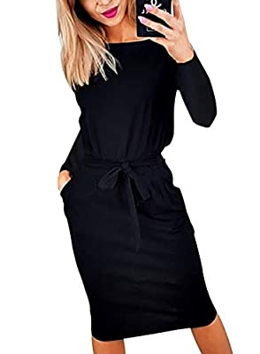 This Long Sleeve Short Dress With High Waist Design And Slim Silhouette To Perfectly Highlight Your Beautiful Figure.Make You Charming And Fashionable Everyday. Casual Cocktail Dresses For Women With Crew Neck And Basic Long Sleeve. -Wide Round Neck ...
