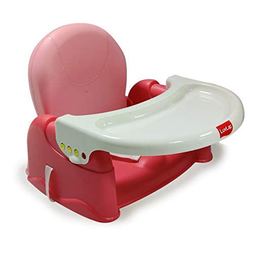 Luvlap BabyFun 2 in 1 Feeding Chair & Booster Seat, Portable (Red)