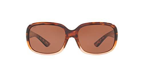 Costa Del Mar Women's Gannet Polarized Rectangular Sunglasses, Shiny Tortoise Fade/Copper Polarized-580P, 58 mm