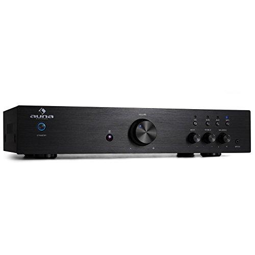 AUNA AV2-CD508, HiFi Audio-Verstärker, Stereo Endstufe, max. 600 Watt, 2-Band-Equalizer, 3 x Cinch-Eingang, 1 x Cinch-Ausgang, schwarz