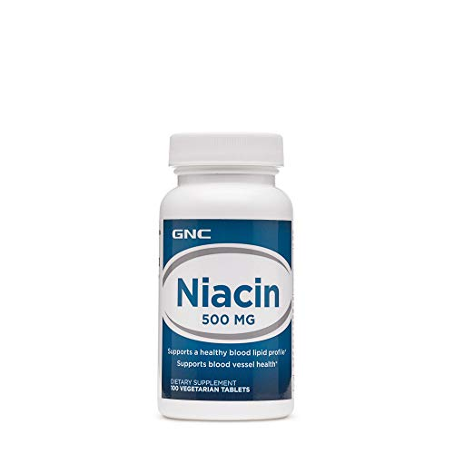 GNC Niacin 500mg, 100 Vegetarian Tablets, Supports Blood Vessel Health