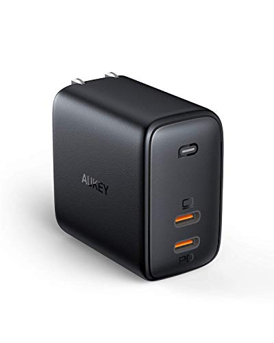 USB C Charger AUKEY Omnia 65W Fast Charger USB C Dual Port with GaNFast Technology and Dynamic Detect for iPhone 11 Pro Max, AirPods Pro, Google Pixel 4XL, Samsung Galaxy S10, Nintendo Switch and more