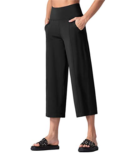THE GYM PEOPLE Bootleg Yoga Capris Pants for Women Tummy Control High Waist Workout Flare Crop Pants with Pockets (X-Large, Black) 1