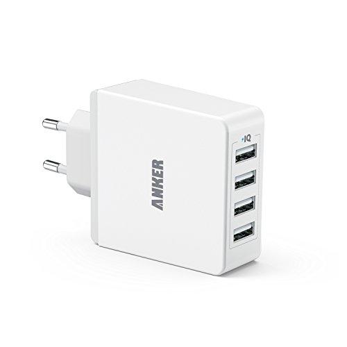 Anker 36W 5V / 7.2A 4-Port USB Ladegerät Wand Ladeadapter mit PowerIQ Technologie Wall Charger für Smartphones Tablets und andere USB-ladende Geräte (Weiß)