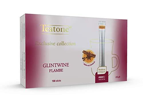 Teatone Glintwine Flambe Tee im Stick | würziger Glühweintee mit dem Aroma von winterlichen Gewürzen und Orange | gewürzter Früchtetee im praktischen Teestäbchen | 100 kuvertierte Tea Sticks