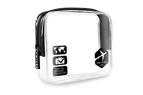 TWIVEE - Kulturbeutel Transparent - 1 Liter - Handgepäck Flüssigkeiten - Schwarz - Unisex