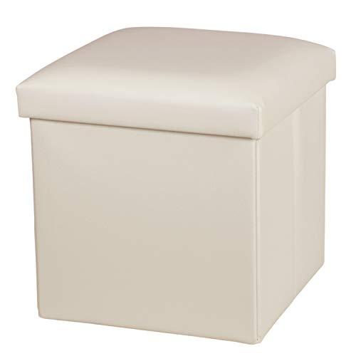 NISUNS OT01 Leather Folding Storage Ottoman Cube Footrest Seat, 12 X 12 X 12 Inches (Beige)