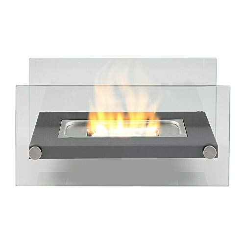 Bio Ethanol Fireplace Indoor Outdoor Camping Glass Top Burner Fire Scala (Black)