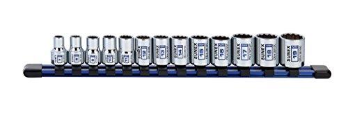 13Piece 3/8' Drive Chrome Socket Rail 12Pt Metric Standard