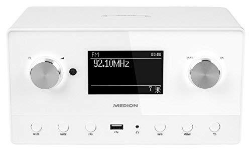MEDION P85066 WiFi Stereo Internet-Radio, DAB+/UKW-Empfänger, Empfang von über 15.000 Internetradiosendern, USB-Anschluss, drahtlose Anbindung durch WLAN-Technologie