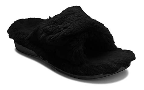 Vionic Women's Indulge Relax Plush Slipper - Adjustable Slipper with Concealed Orthotic Support Black 8 M US