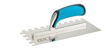 OX Tools P403212 Pro 12mm Notch Trowel, Bleu, 12mm