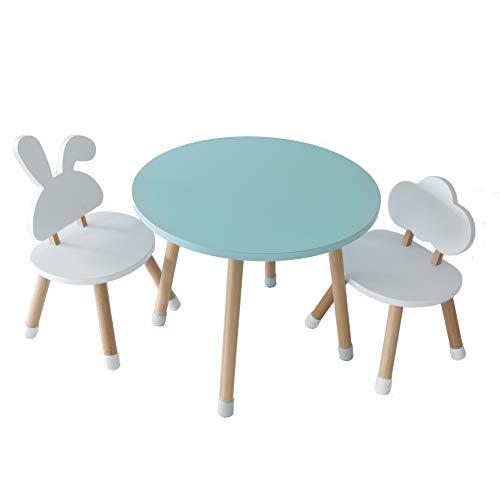 KYWAI - Set di tavolo e 2 sedie per bambini, in legno, colore bianco, tavolo rotondo, stile nordico, scrivania per bambini, camera da letto