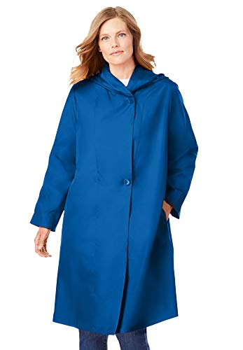Woman Within Women's Plus Size Packable Hooded Raincoat - 22 W, Deep Cobalt