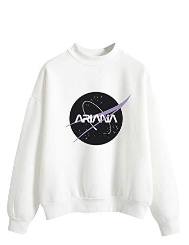 Ariana Grande Sweatshirt for Girl Woman,Trend Singer Sweetener Thank you, Next Hoodie Pullover SweatshirtTinta Unit Print of Letters Long Sleeve Sweater (White,S)