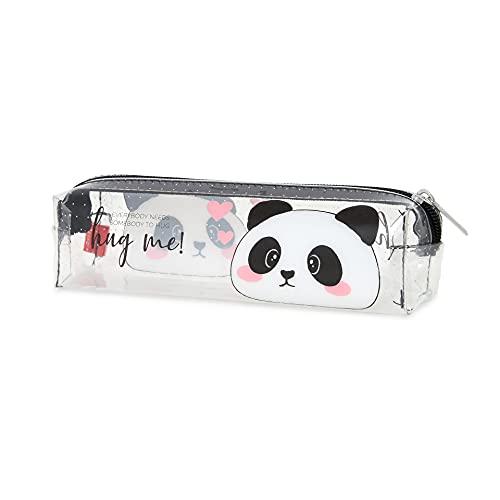 Legami - Pencil Case, Astuccio Trasparente, 19,5x5,5 cm, Panda, Hug Me, Mostra Esattamente Ci che Contiene, in TCU Trasparente, Chiusura Zipper, Capiente