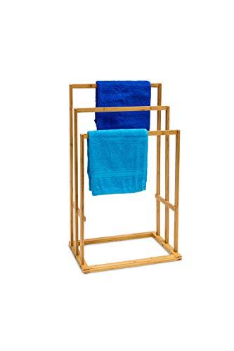 Relaxdays Porte-Serviettes H x l x P: 82 x 43 x 30 cm Vêtements en bois de Bambou 3 Barres Salle de Bain Séchage support habits valet de chambre compartiment surface de rangement, nature