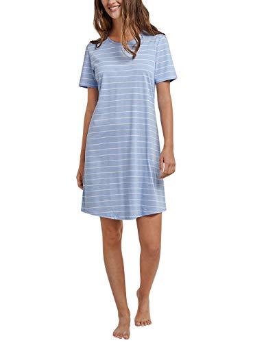 Schiesser Damen Negligee Sleepshirt 1/2 Arm, 90cm, Blau (Air 802) 38